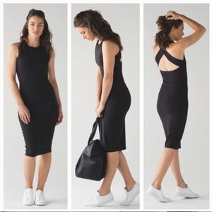 lululemon Black Cross Back Picnic Midi Dress XS